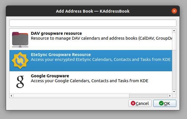 Adding a new EteSync address book